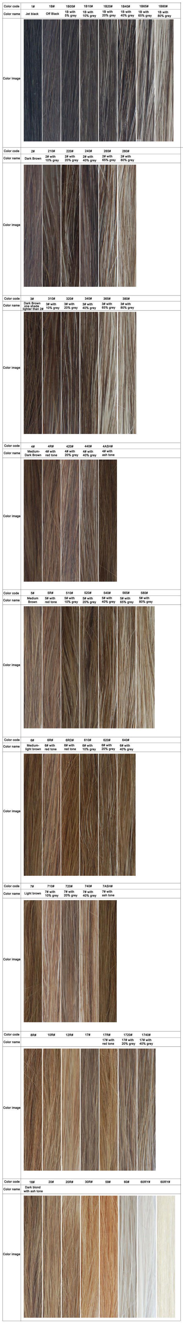 Toupet, Zweithaar, Haarteil Farben