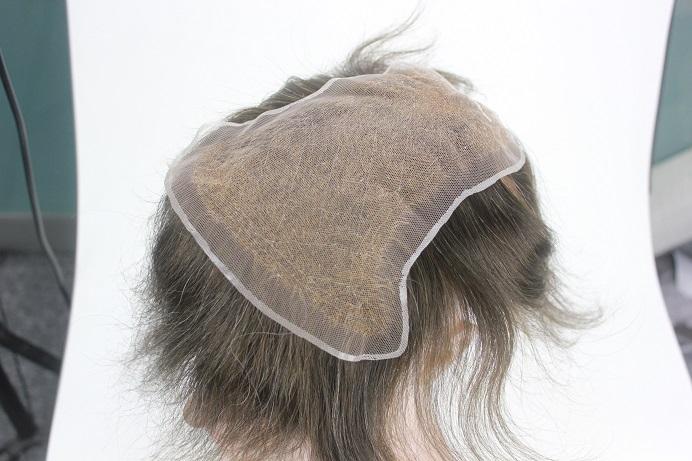 Custom Made French Lace Herren Haarteil  Innenseite mit unsichtbaren Haarknoten