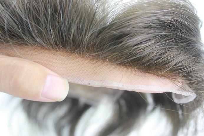 Männer Toupet Sonderanfertigung French Lace Haaransatz mit gebleichten Haarknoten