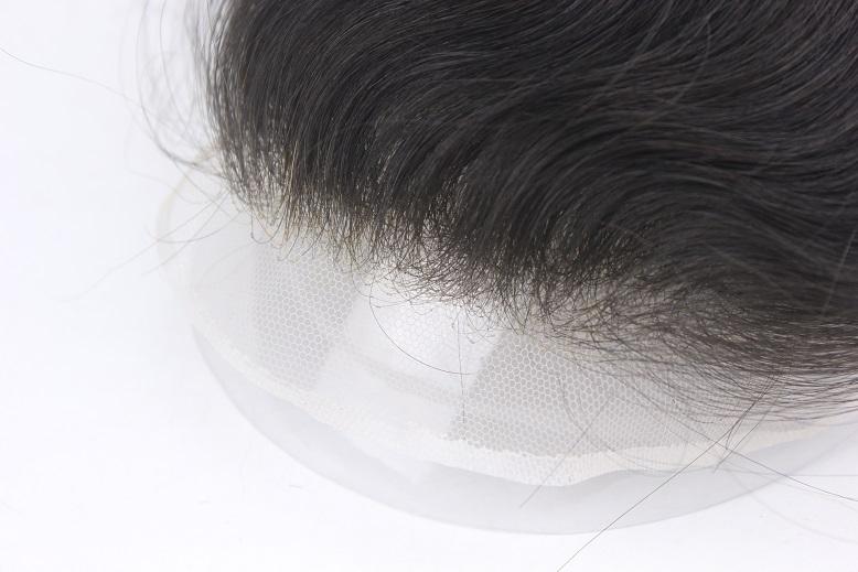Swiss Lace Toupet mit leicht graduell ansteigender Haardichte am Haaransatz