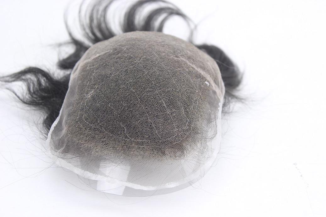 Sonderanfertigung Swiss Lace Toupet mit gebleichten Knoten
